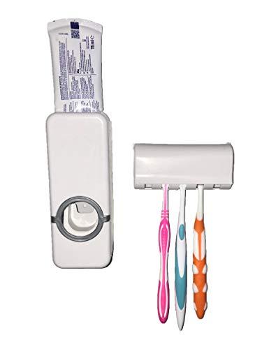 Porta Spazzolino Elettrico Dispenser Dentifricio Da Bagno Muro Parete Distributore Automatico Igienizzante Squeezer Toothpaste Portatestine Strizza Tubetti Set Casa Famiglia Dosa Spremi Toothbrush