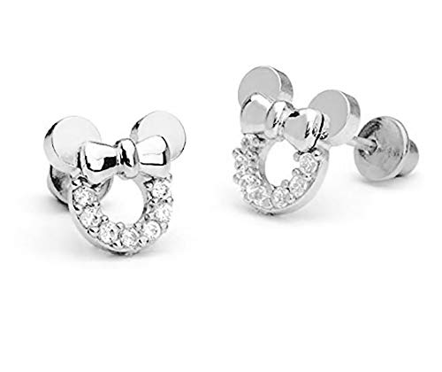 Pendientes huecos de circonitas cúbicas y plata de ley de Mickey Mouse, para mujer y niñas, de findout (f1696plata)