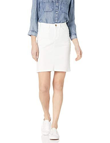 """Lee Women's Regular Fit 21"""" Denim Skirt, White, 10"""