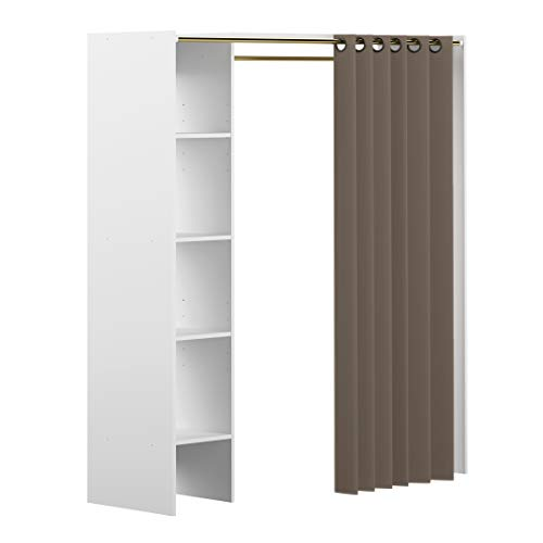 Amazon Marke -Movian Arga - Kleiderschrank, 123/160x50x182cm (L x T x H), Weißer Korpus/Blaugrauer Vorhang