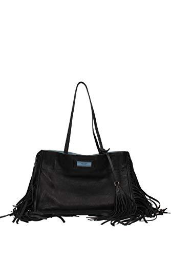 Prada Eticket Black Leather With Flinge Tote Bag With Strap 1BG122