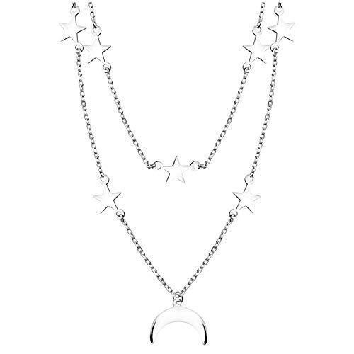 SOFIA MILANI - Collar para Mujeres en Plata de Ley 925 - Colgante de Luna Estrellase - 50294
