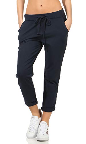 Damen Jogginhose im Boyfriend-Style Sweatpants für Freizeit Sport und Fitness 15 (One Size 36-40, Dunkelblau)