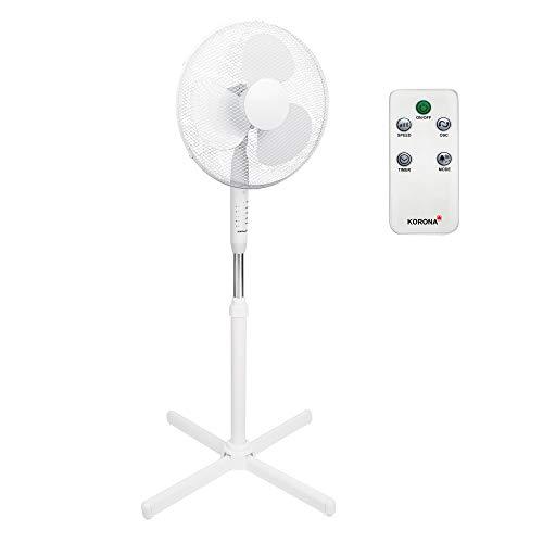 Standventilator mit Fernbedienung Korona 81100 | 90 ° Oszillation | Stand Ventilator | Leise 40 cm Durchmesser, 40 Watt | Fan Windmaschine Weiss | für Bett, Schlafzimmer, Büro, Wohnung, Terrasse