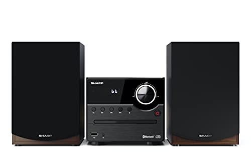 Sharp XL-B512(BR) Microcadena Sound System estereo con radio FM, Bluetooth v5.0, CD-MP3, reproducción USB, altavoces de madera y 45W color marron