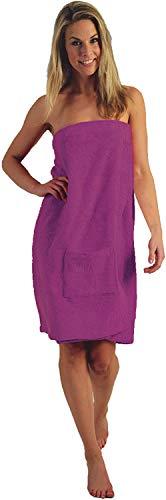 Damen und Herren Saunakilt, BIO-Baumwolle,NEUHEIT: Schlingenfeste Qualität, kein Fädenziehen mehr (Vivid Pink, Damen S - L)
