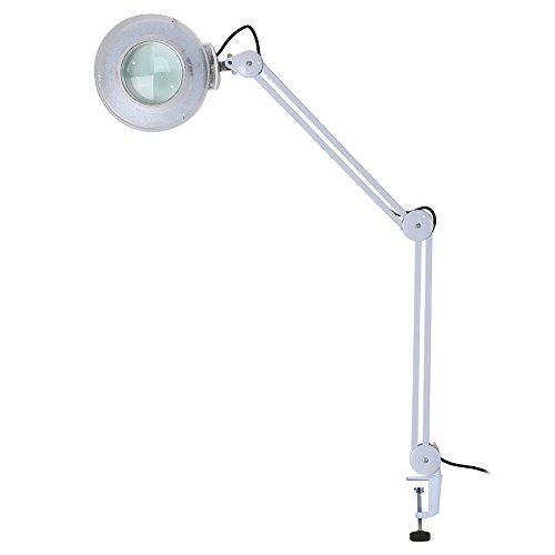 Lámpara lupa de mesa LED, lámpara con lupa LED 8X con pinza de brazo giratorio de metal, para salón de belleza tatuaje, spa, lectura, cuidado de la piel