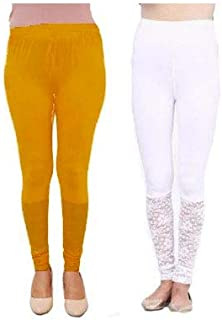 886987facc7ec preet gehna Women's Satin Leggings (White and Yellow, Free Size) Combo Pack  of