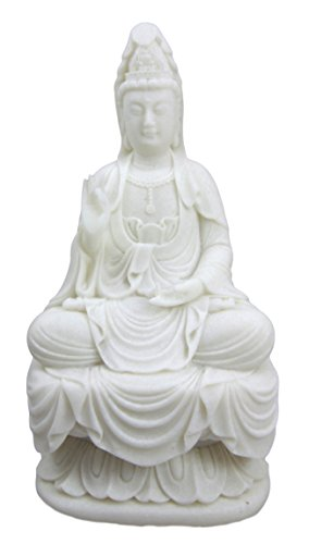 Ebros Buddhism Eastern Enlightenment Water And Moon Goddess Kuan Yin Meditating On Lotus Throne Statue Buddha Themed Religious Decorative Altar Figurine 7
