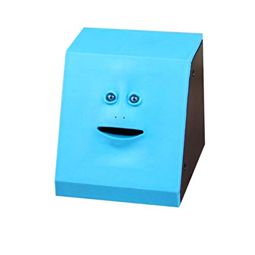 Geld Essen Gesicht Box niedlich facebank Piggy münzen Bank lustige Geld münze Sparkasse kinderspielzeug Geschenk Dekoration (Farbe: Panel blau)