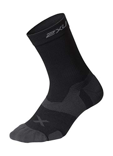 2XU Unisex's Vectr Cushion Crew Socks, Black/Titanium, Large