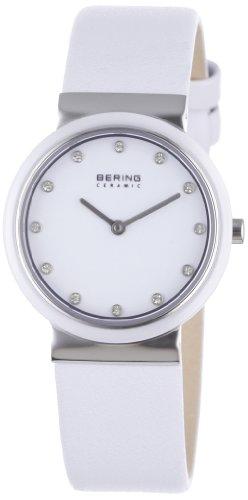 BERING Damen Analog Quarz Ceramic Collection Armbanduhr mit Kalbsleder Armband und Saphirglas 10729-854