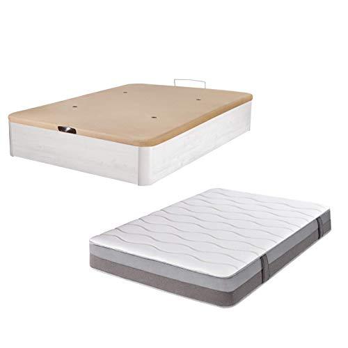 DHOME Pack Canape abatible tapizado 3D Madera + Colchón viscografeno,...