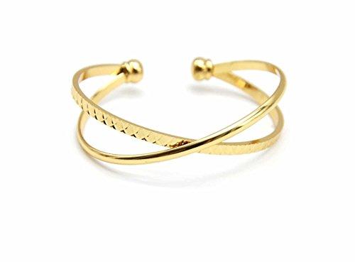 Oh My Shop BC2190E Offenes Armband, doppelter Armreif, gekreuztes Metall, vergoldet, Schildpatt