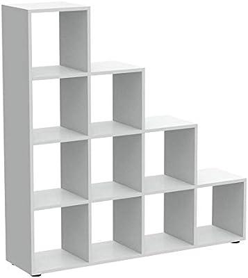 FMD 248-002_we Mega 2 Bibliothèque Escalier Panneaux Mélaminiques Blanc 33 x 138,5 x 143,5 cm