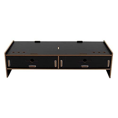 Soporte de monitor para pantalla de ordenador, soporte de madera, portátil, portátil, TV, bolsillos elevadores, multifuncionales, ajuste plegable (tamaño: 48 x 20 x 12 cm, color: negro)