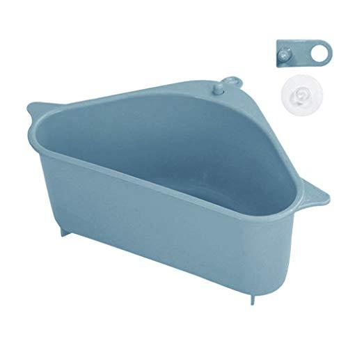 Luccase Escurridor de esponja para fregadero, 2 piezas para fregadero de cocina, cesta de almacenamiento con botón a presión, herramienta de lavado de platos, estante de maquillaje