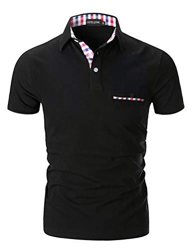 STTLZMC Casual Polo Hombre Mangas Corta Camisetas Deporte Algodón Clásico Plaid Cuello,Negro,L