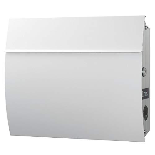 LEON (レオン) MB4801 郵便ポスト 壁掛けタイプ ステンレス製 鍵付き おしゃれ 大型 ポスト 郵便受け (マグネット付き) (MAIL BOXシート無し) ホワイト