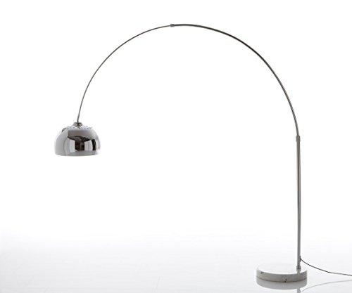 Stehlampe Big-Deal XL Silber Weiss dimmbar höhenverstellbar Bogenleuchte