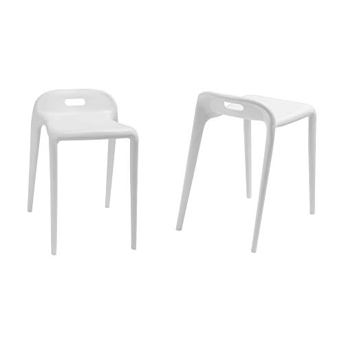 Mod Made E-Z Modern Stacking Stool Chair (2 Pack), White
