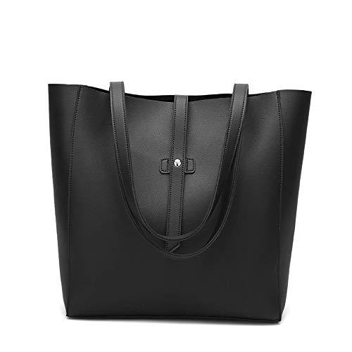 Aigoode Damen Große Umhängetasche Leder Einkaufstasche, Mode-Design Einkaufstasche Super Große Praktische Tasche.(Black)