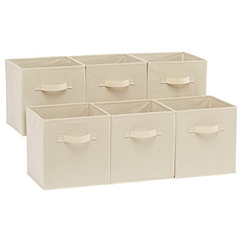 Amazon Basics - Cubos de almacenamiento plegables (pack de 6), Beige