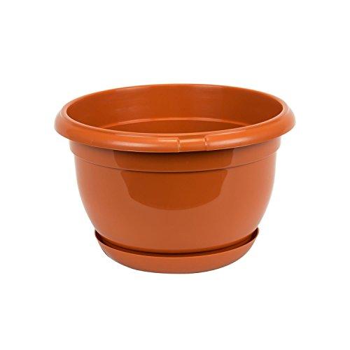 Pot de fleur plastique Malta 21 cm marron avec twist soucoupe