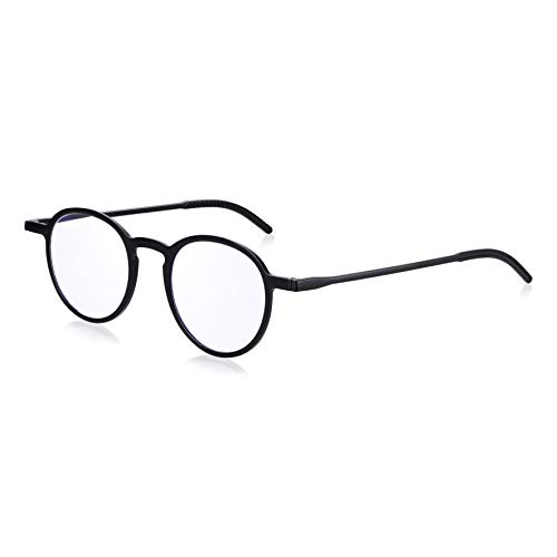 Anti Blue Light Filter Thin Reading Glasses +2.5: Read Optics Round Frame Pocket Readers Glasses in Flat Case. Mens/Womens. Comfortable, Bendy, Durable TR90 plastic. Clear Lens 1 to 2.5