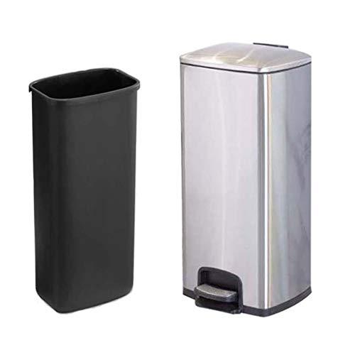 Cubo de basura La basura de acero inoxidable de cocina de Can pedal bote de basura del hogar de la sala de baño con la tapa del bote de basura de plata 30L / 7.9 galones de gran capacidad papelera bot