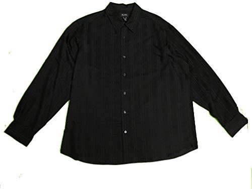Axcess Men's Long Sleeve Button Front Striped Shirt XX-Large Black