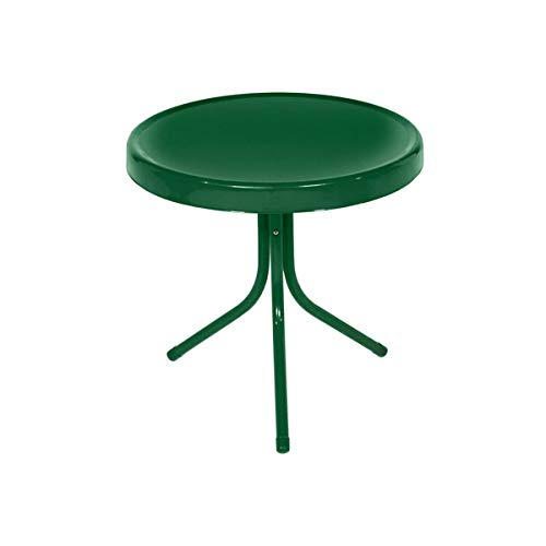 21.75-Inch Forest Green Outdoor Retro Metal Tulip Side Table