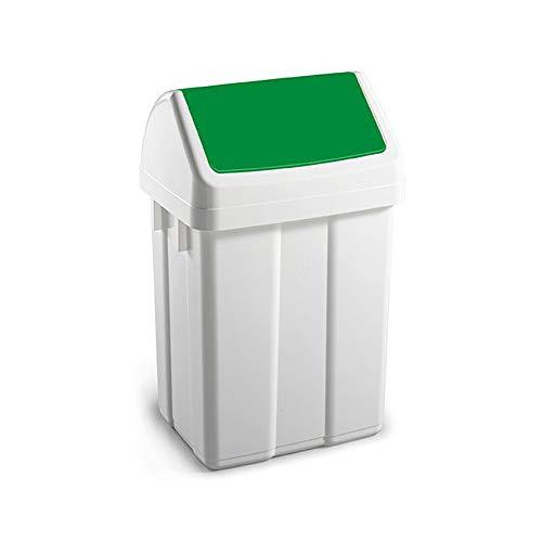 TTS Reinigung 00005062Max Polypropylen Mülleimer mit Schwingdeckel (grün), 50Liter Fassungsvermögen, weiß