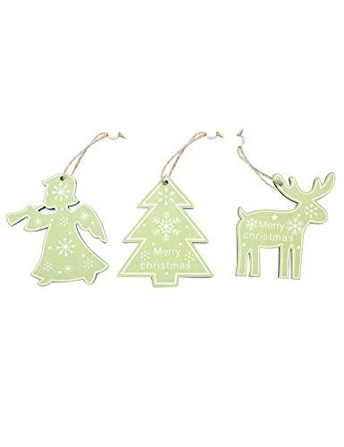 Jueshanzj Weihnachtsdekoration Hölzern Hanf Seil Holz Ornament Schneeflocke Süß Weihnachtstürdekoration Weihnachtsbaum Anhänger Hellgrün 3-pcs 11x5cm