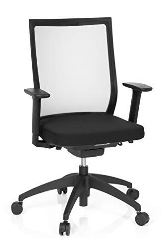 hjh OFFICE 657620 Profi Bürostuhl Aspen Stoff/Netz Schwarz Drehstuhl ergonomisch, selbstheilender Netzrücken, höhenverstellbar