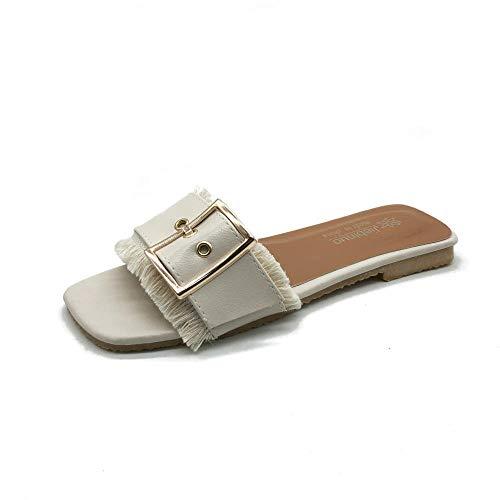 CCSSWW Suela De Espuma Suave Zapatos,Hebilla de Metal Sandalias de tacón bajo-Blanquecino_35,Sandalias con Plataforma y Alpargata Casual para Mujer
