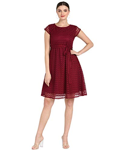 Serein Lace Fit and Flare Casual Dress (SER-DRESS-BN-1- Maroon_XL)
