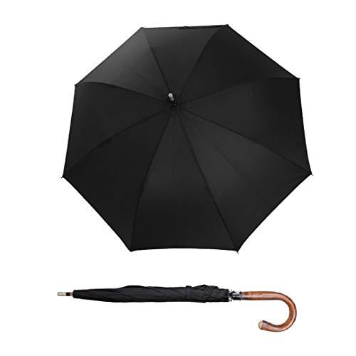 Sicherheitsschirm | Unzerbrechlicher Self Defense Regenschirm mit wunderschönem Edelkastanie Rundhakengriff Echtholz | Tactical Stockschirm Selbstverteidigung | Unverzichtbares Security Zubehör