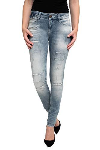 Zhrill Damen Jeanshose Röhrenjeans 5 Pocket Vintage Skinny Fit Mia Destroyed, Größe:W32 / L32, Farbe:W7067 - Street Light Blue