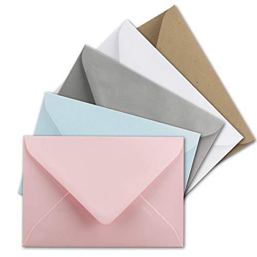 Juego de 25 sobres de colores pastel en DIN C8, 7,6 x 5,2 cm, sobres en miniatura con adhesivo húmedo en 5 colores