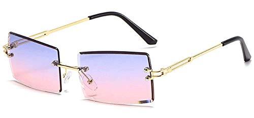 DURINM Gafas De Sol Rectangulares Sin Montura UV400 Protección Gafas Cuadradas Sin Marco De Moda Antideslumbrante (A)