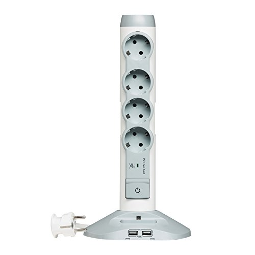Legrand 694614 - Regleta en torre (mini USB, 6 enchufes Schuko)