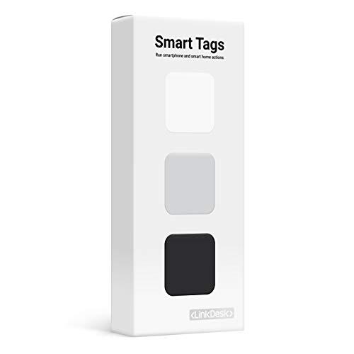 LinkDesk Smart Tags | Etichette autoadesive NFC | Attivazione senza contatto di smartphone e scorciatoie Smart Home, Alexa e IFTTT | Per iPhone e smartphone Android | Neutral Editon