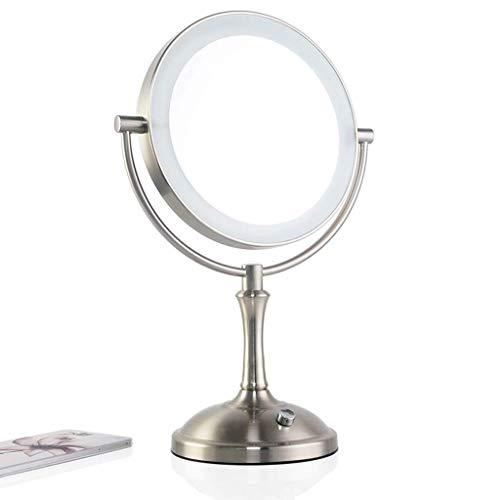 L.HPT Miroir de Maquillage LED Miroir grossissant en Verre de 8 Pouces Miroir de Bureau en Gros Plan 3 Fois