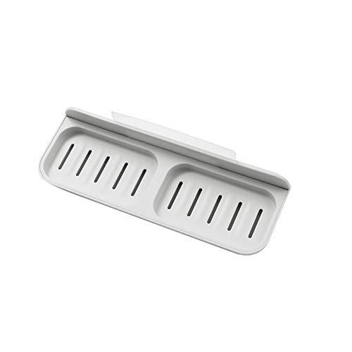 Rolled Jabonera de drenaje sin taladrar para montar en la pared, con ventosa sin costuras, para ducha, baño, cocina, fregadero