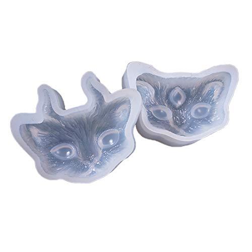 Yingwei 2 Stück Kristall Epoxy Form DIY Schmuck Winkel Katzenkopf Spiegel Silikonform