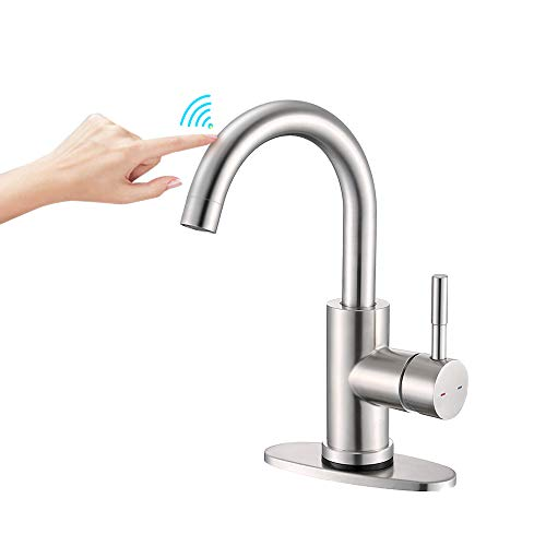Bathroom Sink Faucet & Prep Faucet, ARRISEA Stainless SteelSingle Handle Touch Bar Sink Faucet with 6 Inch Deck Plate, Brushed Nickel 360 Degree Swivel Smart Faucet for Lavatory Sink Pre Sink