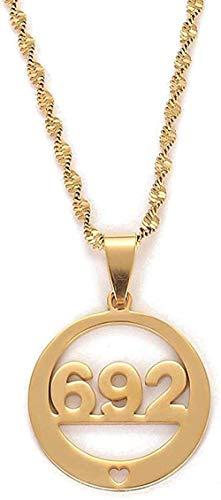 Liuqingzhou Co.,ltd Collar de Acero Inoxidable Número 692 Redondo con corazón Collares Pendientes de Color Dorado Collar de joyería de Moda