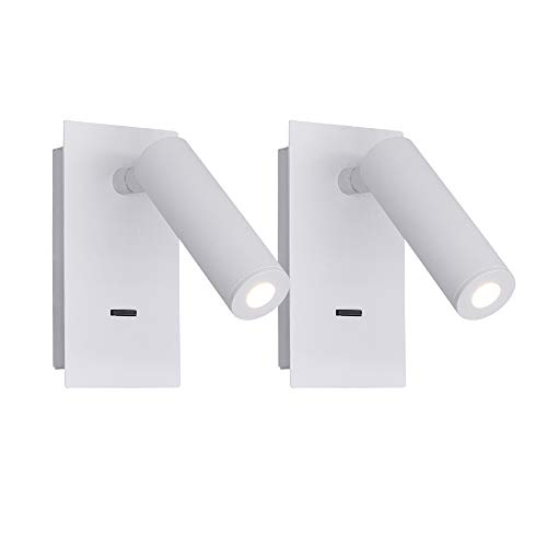 BYX Foco de pared ajustable en color blanco, paquete de 2 apliques de luz de pared blanca cálida de 3 W con interruptor para lectura en el dormitorio, estudio, hotel, porche, pasillo