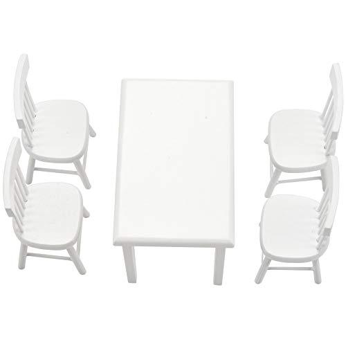 Exanko 5 Piezas Juego de Silla Mesa Modelo Muebles de casa de munecas en Miniatura Blanco 1/12